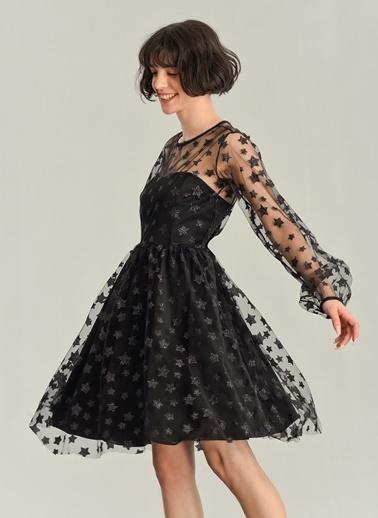 Agenda Yıldız Varaklı Elbise Siyah